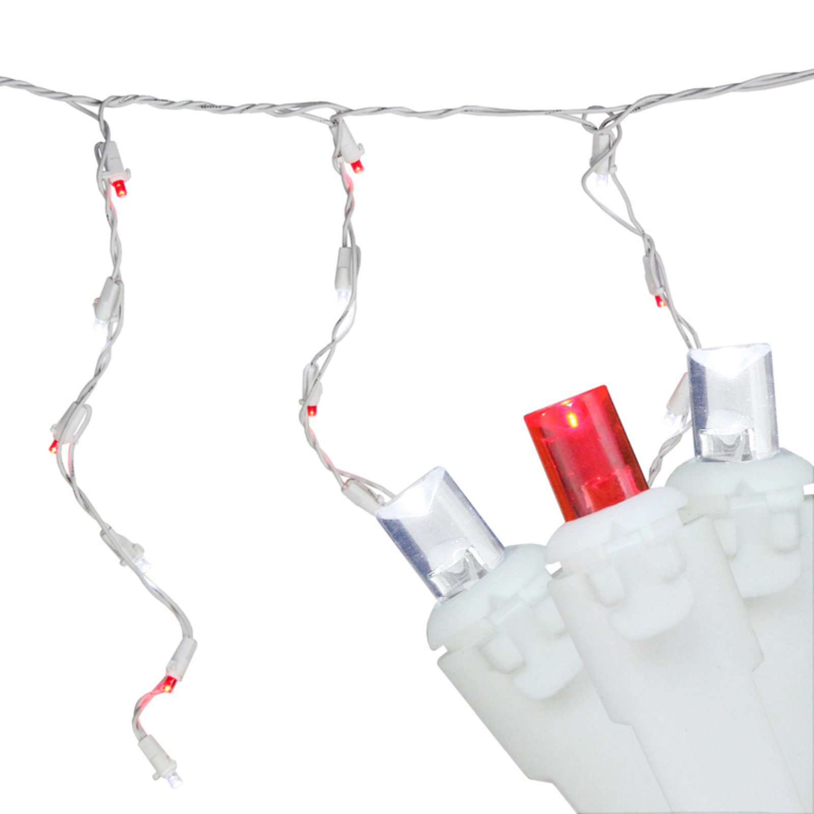Northlight 100 ct. LED Wide Angle Red/White Icicle Lights with White Wire 3 in. Spacing