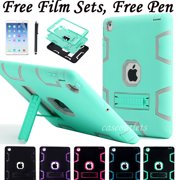 Shockproof Heavy Duty Rubber Hard Stand Case Cover For Apple iPad 2/3/4 iPad air /air2 iPad Mini Case +Film