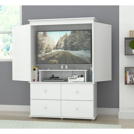 Inval Modern Laricina-white Armoire/ AV Video Combo Cabinet - Mini Entertainment Armoire