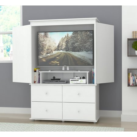 Inval Modern Laricina-white Armoire/ AV Video Combo Cabinet This Audio/Video Armoire combo is perfect for any room in your home. It can be used as a wardrobe with both opened and concealed storage areas including a hanging rod for clothing items or use as a TV stand which can accommodate up to a 46-inch flat screen TV. All this sits above four deep drawers with brushed steel knobs to provide additional storage for your garments as well as your AV/TV accessories. The unit has four plastic slides for ease in moving while cleaning or redecorating.