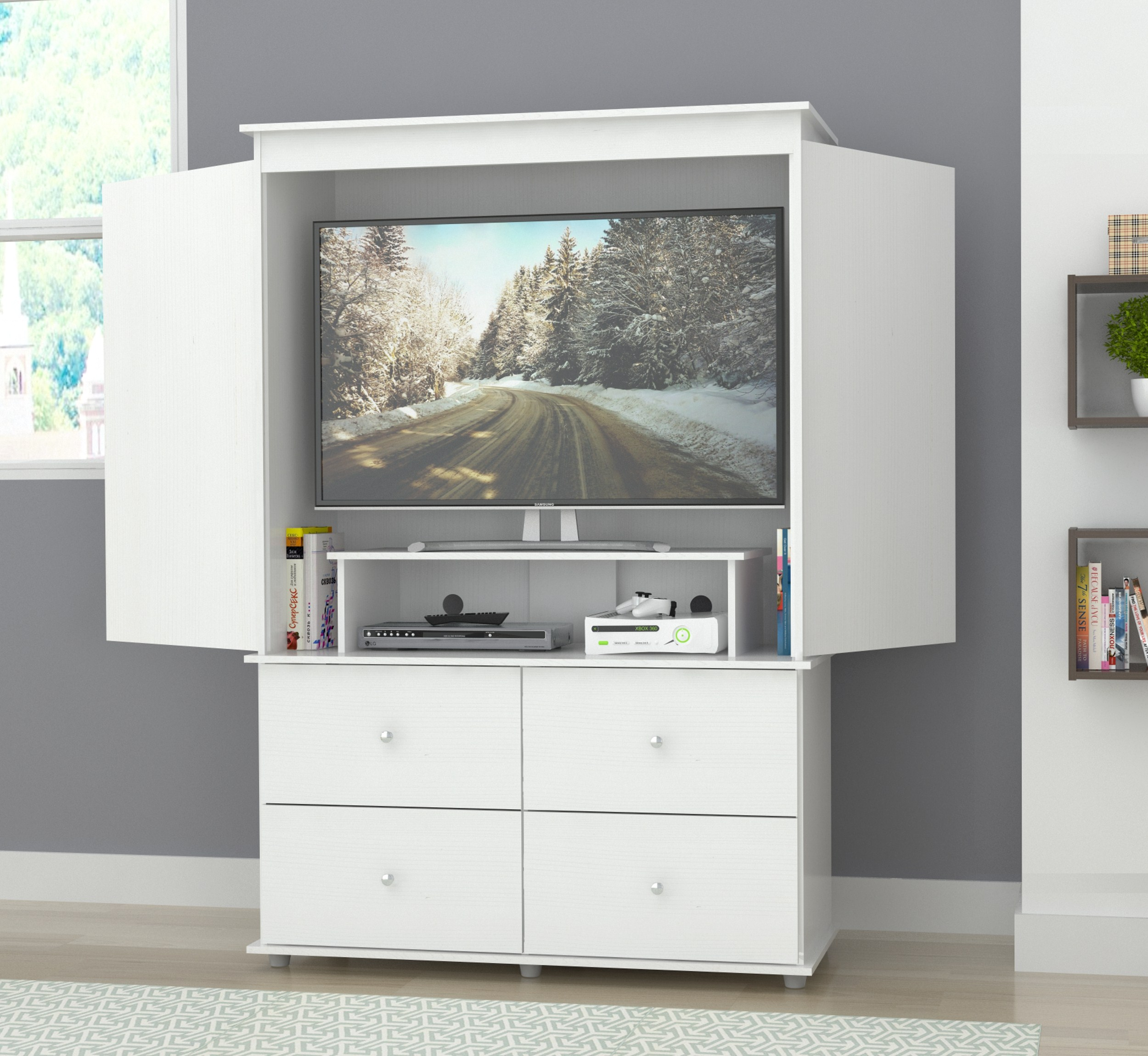 Inval Modern Laricina White Armoire/ AV Video Combo Cabinet