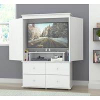 Inval Modern Laricina-white Armoire/ AV Video Combo Cabinet
