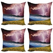 Nature Throw Pillow Cushion Case Pack of 4, Sky with Electrical Storm Rays Powerful Effect on Earth Rural Landscape Print, Modern Accent Double-Sided Print, 4 Sizes, Green Pink Blue, by Ambesonne