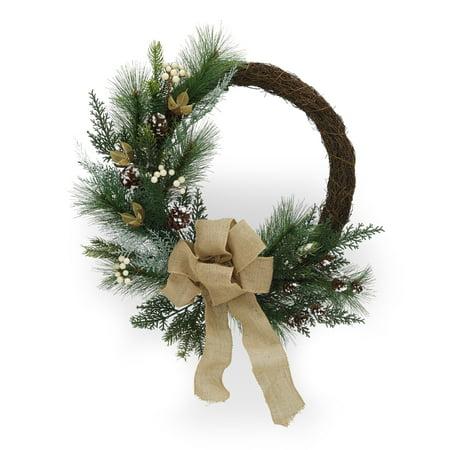Belham Living Multicolor Asymmetrical Woodland Christmas Wreath, 22 in ()