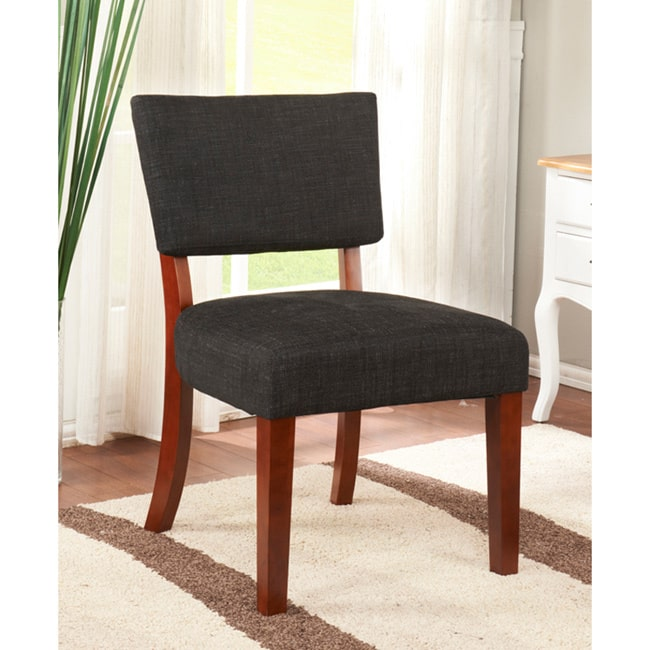 K and B Furniture Co Inc K&B Black Linen Accent Chair