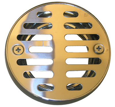 Shower Drain Grate, 3-1/4 Inch With 2 Screws Chrome Plated
