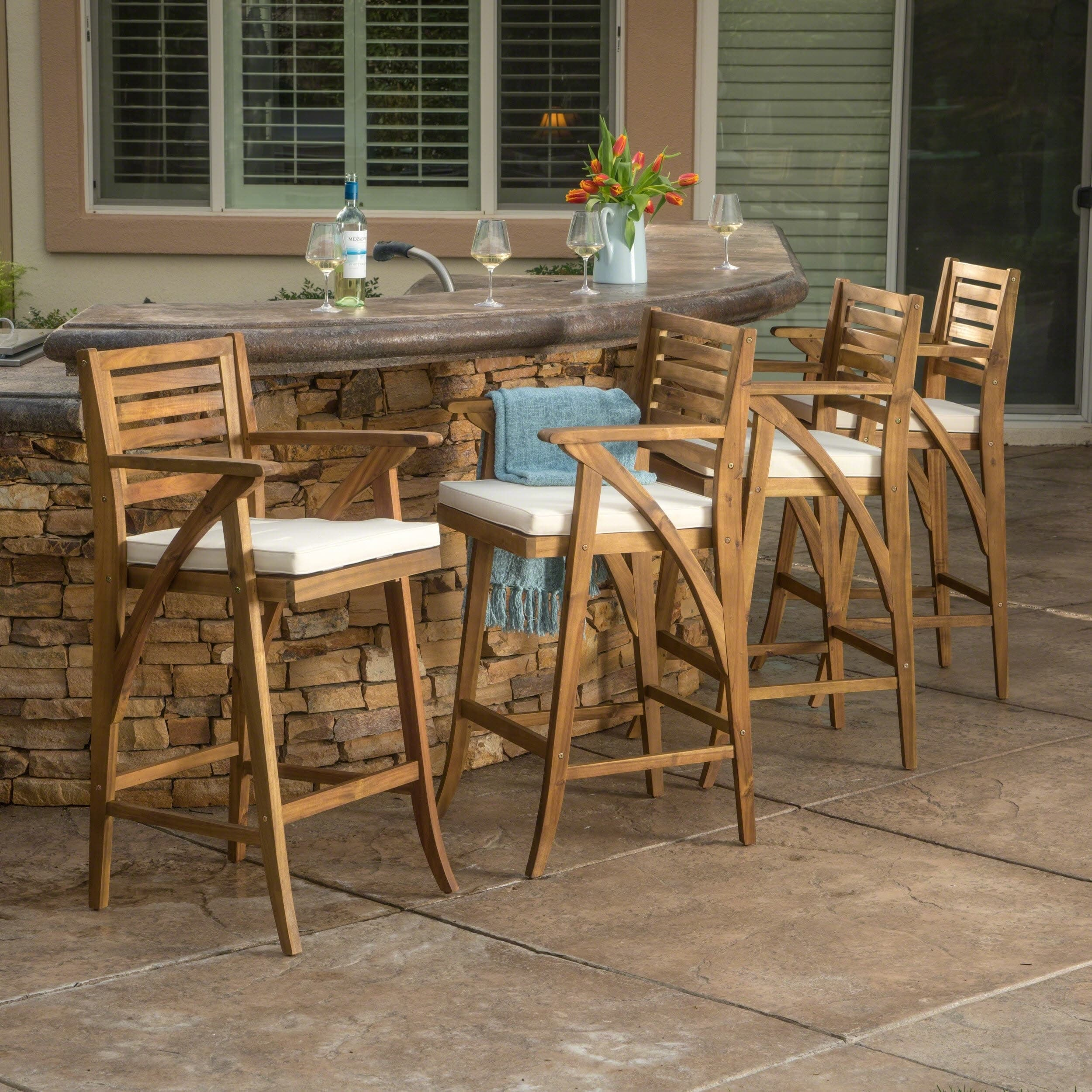 Christopher Knight Home Hermosa Outdoor Acacia Wood Barstool with Cushion (Set of 4) by  Brown