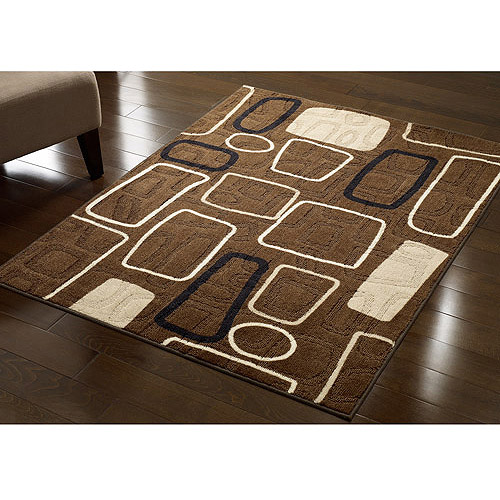 Hometrends Nylon Cut and Loop Tufted Printed Accent Rug, Tesselata Black/Brown Modern