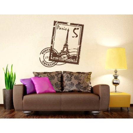 Paris Stamp with Eiffel Tower Wall Decal wall decal sticker mural viny