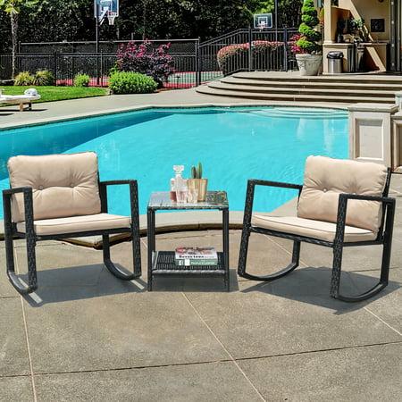 Costway 3PC Patio Rattan Conversation Set Rocking Chair Cushioned Sofa Garden Furniture ()