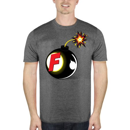Attitude Graphic Tee - F Bomb Funny Attitude Men's Charcoal Graphic T-Shirt, up to Size 2XL