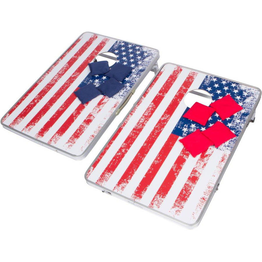 3' Corn Hole & Beanbag Toss Set Lightweight & Portable Aluminum By Trademark Innovations (American Flag, Without Case) by Trademark Innovations