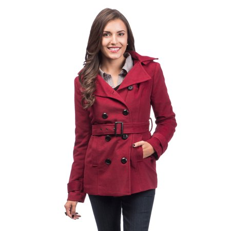 fb0cd5e190f Lee Cobb - Women Pea Coat Jacket Trench Double Breasted by with Belt and  Detachable Hood Fully Lined Size 12 - 14 - Walmart.com