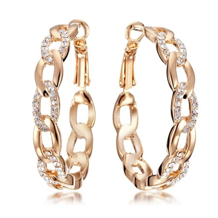 Gemini Women's Jewelry 18K Gold Filled Swarovski Zirconia Big Round Hoop Pierced Earring for Women Gifts Gm039Rg, Size 4cm, Color Rose (Best Gift For Gemini Woman)
