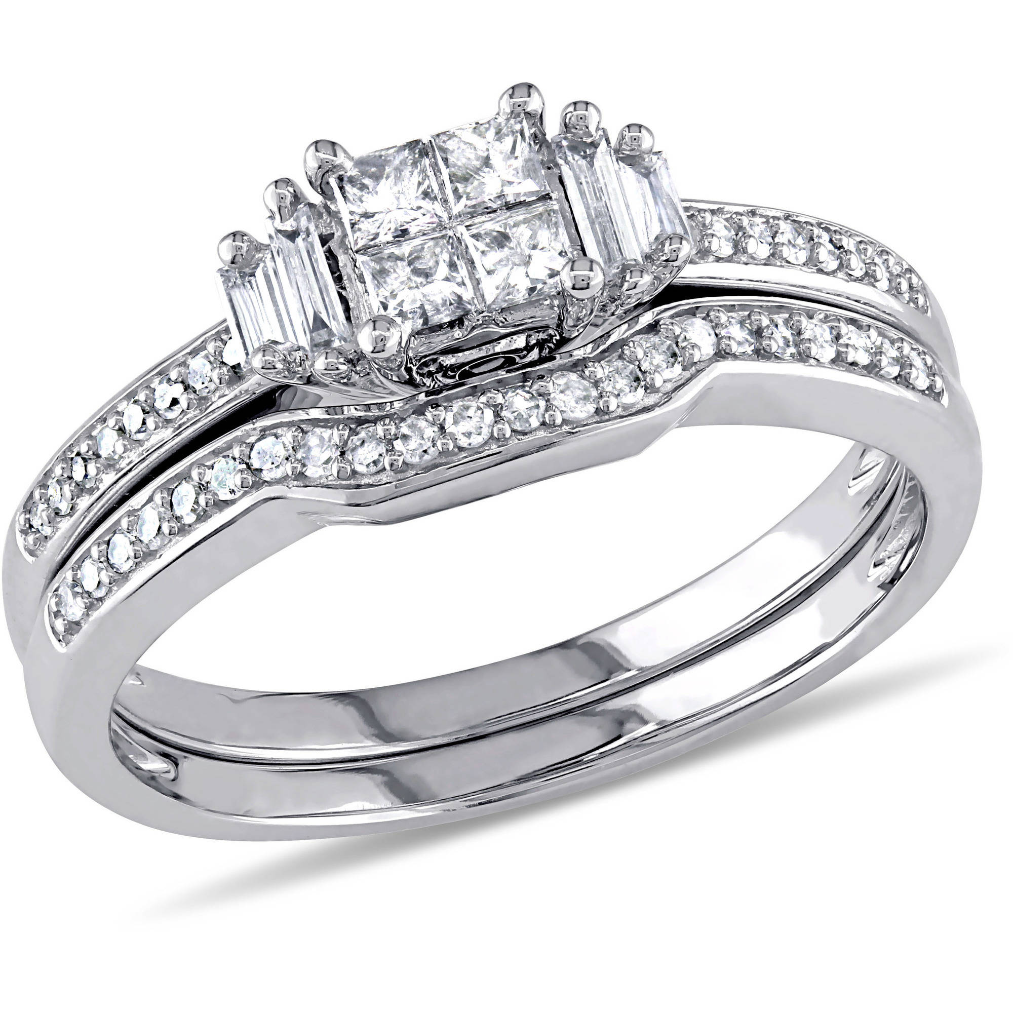 1/2 Carat T.W. Diamond Princess, Baguette and Round-Cut Bridal Set in 10kt White Gold