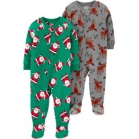 Child of Mine by Carter's Christmas Holiday Baby Toddler Boy Microfleece Blanket Sleeper Pajamas, 2-Pack