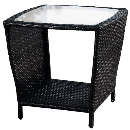 jackson outdoor black wicker side table with glass top. Black Bedroom Furniture Sets. Home Design Ideas
