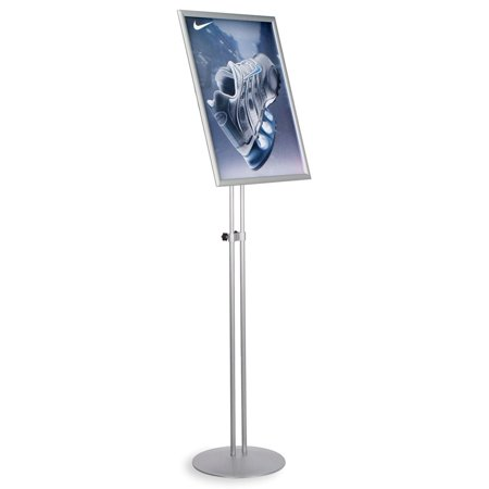Fully Adjustable Silver Finish Poster Stand With Double Metal Pole Base, 19-1/4 x 79-3/4 x 25-1/4-Inch, Free-Standing, Snap-Open Frame With Protective Lens (FST1824SLV)
