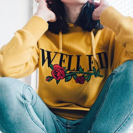 Sawpy Women Long Sleeve Pullover Sweatshirt Harajuku Print Girl yellow Hoodies Women 2019 Autumn Hoodie Sweat Femme