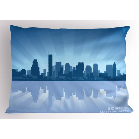 Boston Standard Sham - Boston Pillow Sham Massachusetts Skyline Illustration and Reflection in Water, Decorative Standard Size Printed Pillowcase, 26 X 20 Inches, Pale Blue Petrol Blue and Slate Blue, by Ambesonne