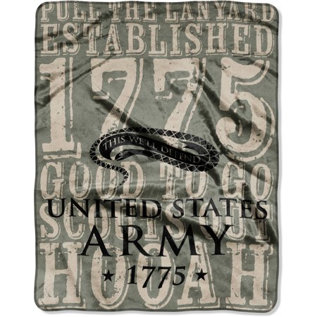"U.S. Army Silk Throw 55"" x 70"" This Will Defend Throw Blanket, 1 Each"