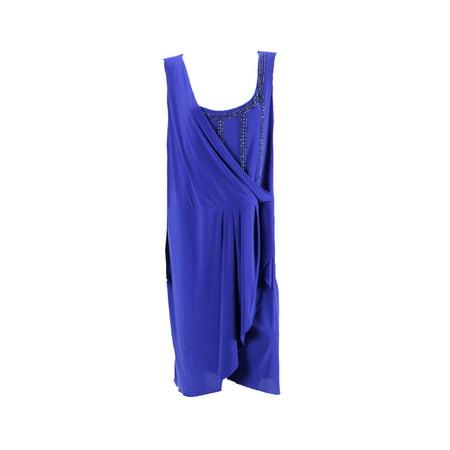 Onyx Nite Plus Size Royal Sleeveless Beaded Foldover Sheath Dress 22W