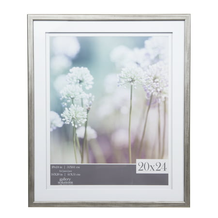GALLERY SOLUTIONS 20x24 Grey Wood Frame with Double White Mat For ...
