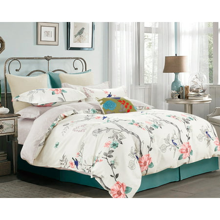 Swanson Beddings Floral Print 3-Piece 100% Cotton Bedding Set: Duvet Cover and Two Pillow Shams (Cream-Light Gray, Queen) Printed Duvet Set