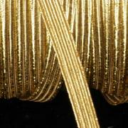 "Metallic Gold Braided Elastic Trim .25"" x 108 Yards"