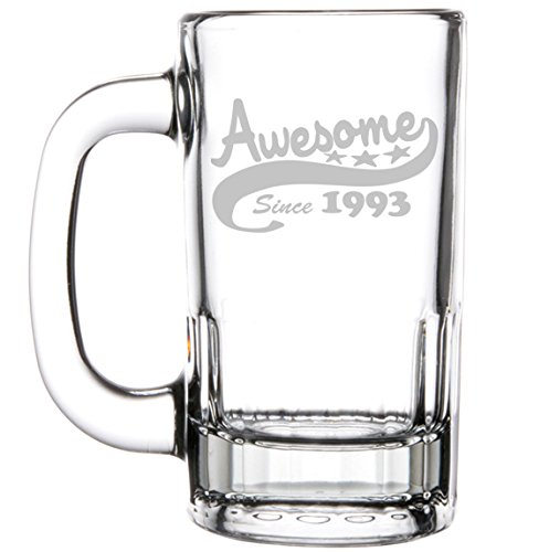 12oz Beer Mug Stein Glass Funny 25th Birthday Awesome Since 1993 by