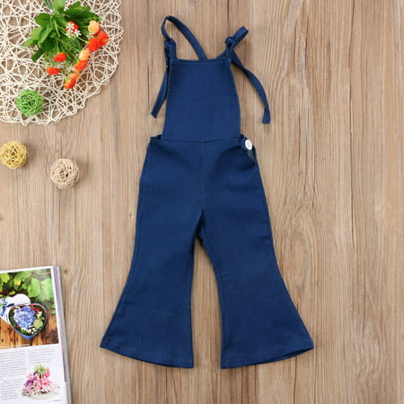 Baby Girls Little Kids Suspender Overall Flared Denim Jeans Jumpsuit Bell Blue -