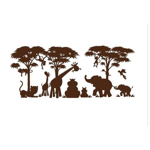 Elephants On The Wall Large Silhouette Safari Wall Mural