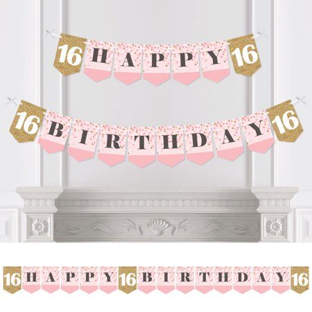 Sweet 16 Banners (Sweet 16 - Birthday Party Bunting Banner - 16th Party Decorations - Happy)