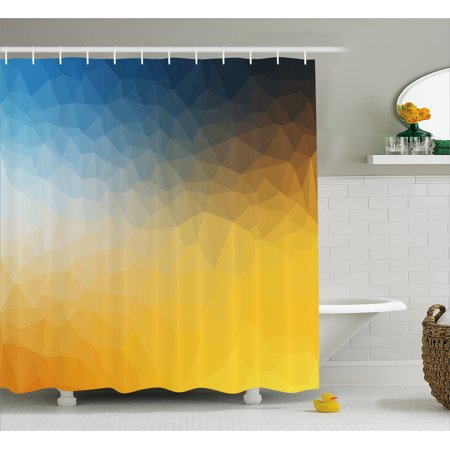 Yellow And Blue Shower Curtain Abstract Polygon Style Fractal Gradient Geometric Background Art Fabric