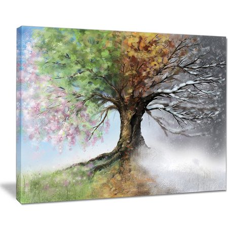 Design Art 'Tree with Four Seasons' Painting Print on Wrapped (Four Seasons Tee)