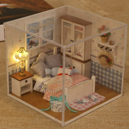 Miniature Super Mini Size Doll House Model Building Kits Wooden Furniture  Toys DIY Dollhouse Girl Bedroom Warm Whispers