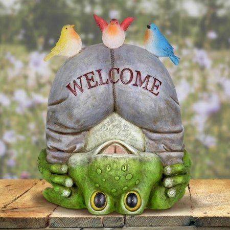 Exhart Solar Welcome Frog with Birds Garden Statue ()
