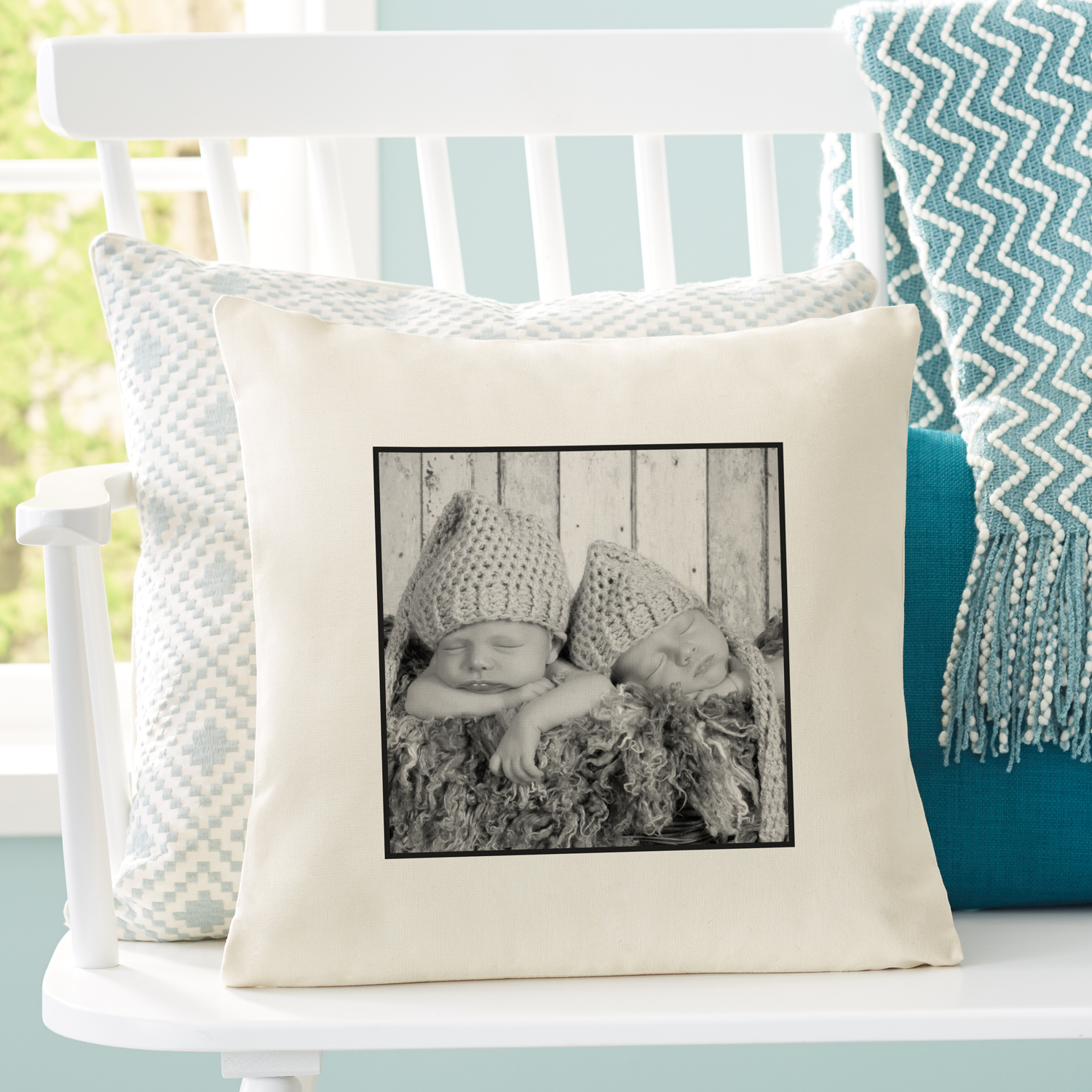 "Personalized Photo Accent Pillow With Plain Border 15""x15"""