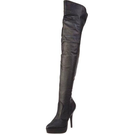 Womens Black Boots 5 Inch Heels Thigh High Boots Mid Platforms Pig Leather