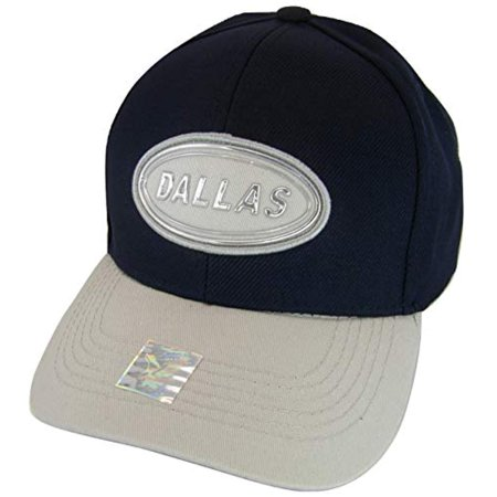 Dallas Oval Patch Style Adjustable Baseball Cap (Navy/Gray) ()