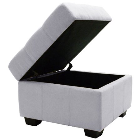 Epic Furnishings Microfiber Upholstered Tufted Padded Hinged Square Storage Ottoman Bench 24 Inch Suede Slate Walmart Com