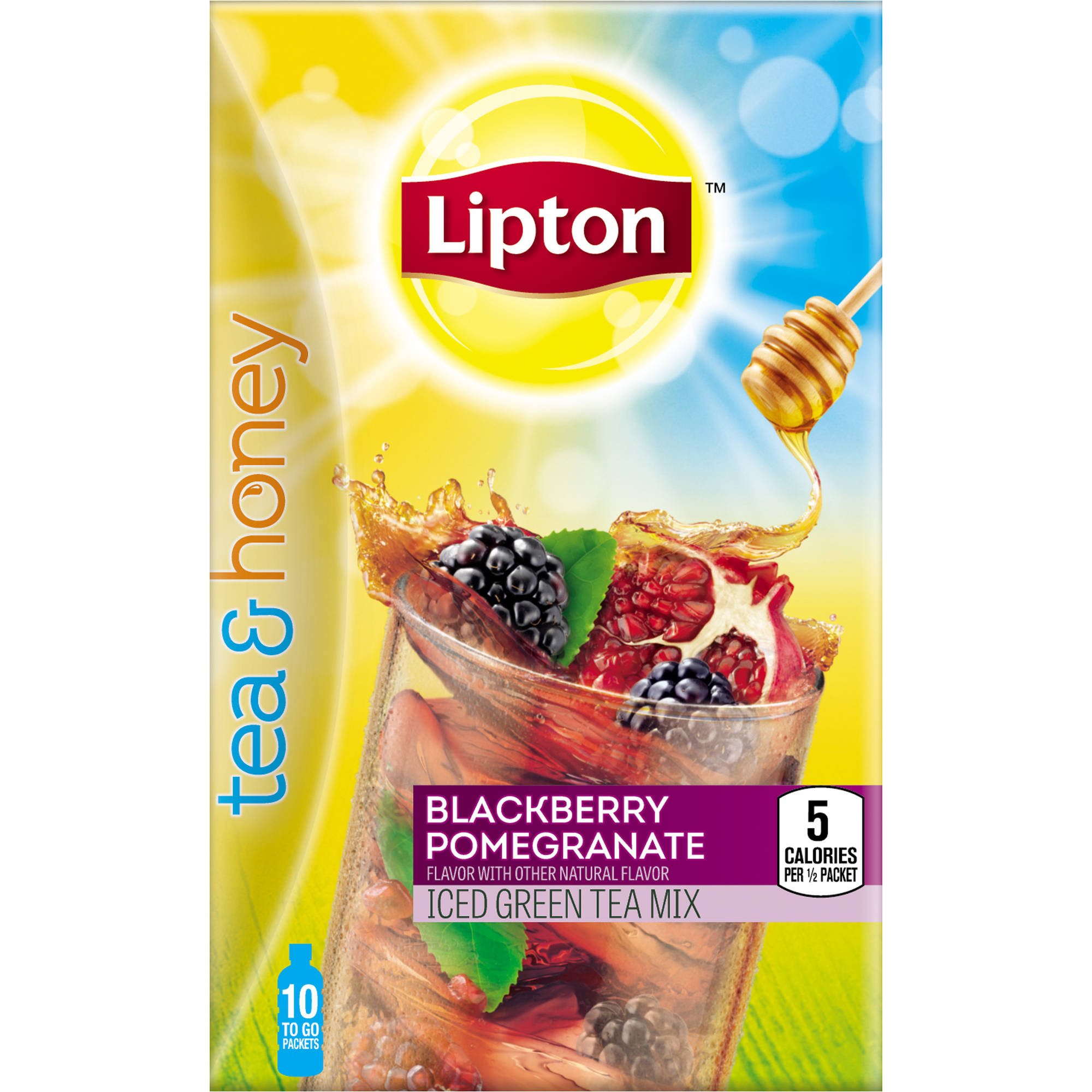 Lipton Tea and Honey Blackberry Pomegranate Iced Green Tea To Go Packets, 10 ct