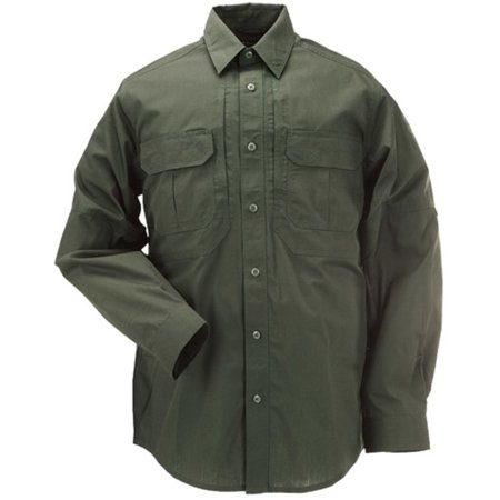 5.11 TACTICAL Taclite Pro Long Sleeve Shirt X-Large TDU Green The Long Sleeve TacliteG ³ Pro Shirt remains one of our most popular designs, and is worn by law enforcement, tactical operators, and range professionals around the globe. Crafted from our proprietary 4 oz. poly/cotton Taclite ripstop fabric, and Teflon- treated for stain, liquid, and soil resistance, our Taclite Pro Long Sleeve Shirt stands up to the toughest work environments. Patented 5.11 Hidden Document Pockets at the chest provide ample and covert storage, reinforced pen pockets at the left sleeve offer quick convenience, and a cape-back mesh panel maximizes ventilation to keep you cool and comfortable in warm climates. With a highly functional, lightweight, extremely durable design, the Taclite Pro Long Sleeve Shirt offers superior versatility for a wide range of applications, making it an ideal choice for both on duty and off duty wear. Lightweight, durable, comfortable Enhanced ventilation for warm climates Quick dry, moisture wicking action Long sleeves offer adjustable cuffs and sleeve-keeper Gusseted underarms for mobility Teflon treated for stain, soil, and liquid resistance Twin chest pockets with pen slots Built from 4 oz. Taclite poly/cotton ripstop fabric Cape-back vent Melamine buttons wonG t burn, crack, or melt Bartacking at all stress points Locker loop on inner collar
