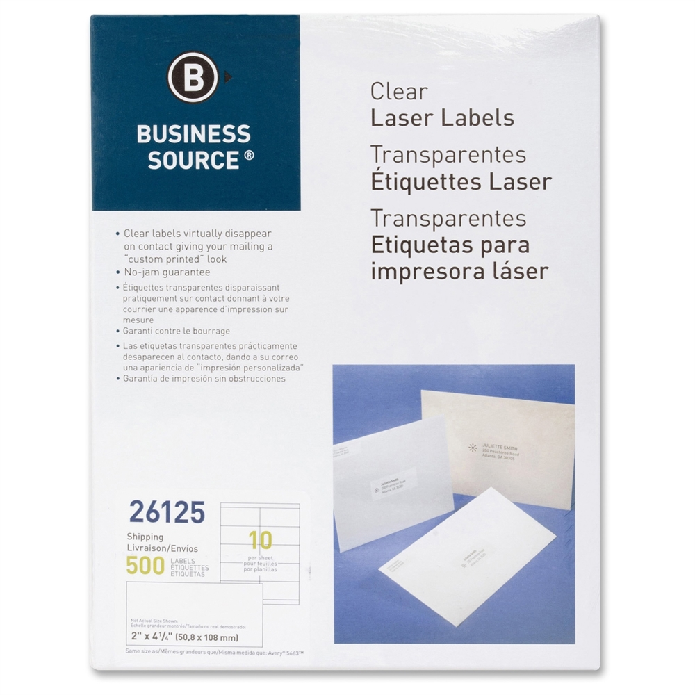 Business Source Shipping Labels, Laser, Permanent, 2''x4'', 500 per Pack, Clear