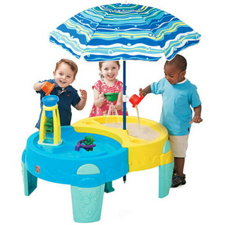 Step2 Shady Oasis Sand   Water Table   40  Umbrella Provides Shade And Protects From The Harmful Sun Rays