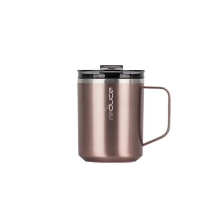 Reduce Hot-1 Coffee Mug with Lid and Handle, 14oz- Rosegold - Stainless Steel Coffee Mug for the Office or Travel, Fits Under Single Serve Machines Stainless Steel Leland Single Handle