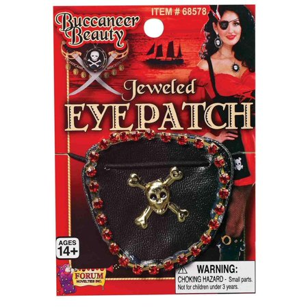 Pirate Wench Jeweled Skull & Crossbones Adult Costume Eyepatch One Size ()