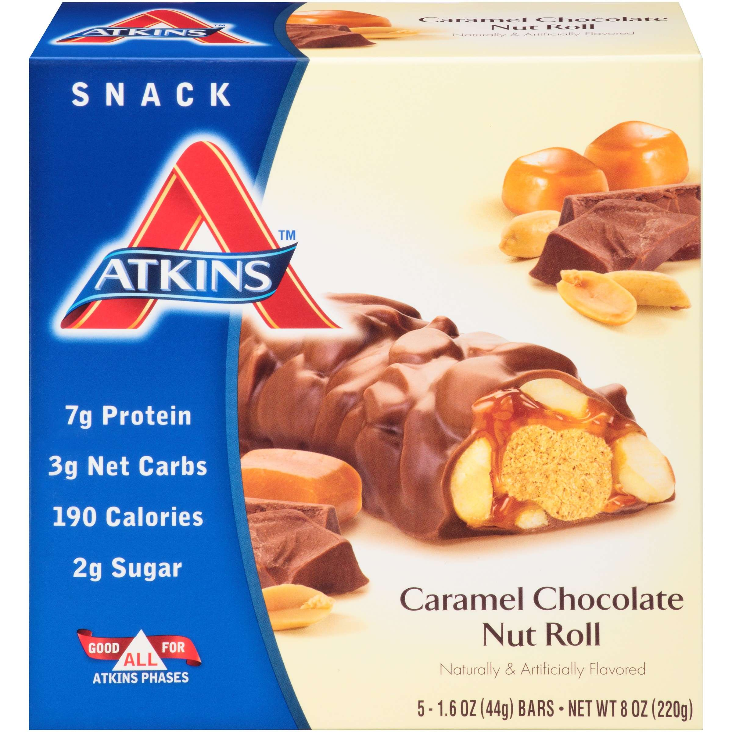 Atkins Snack Caramel Chocolate Nut Roll, 1.6oz, 5-pack (Snack)