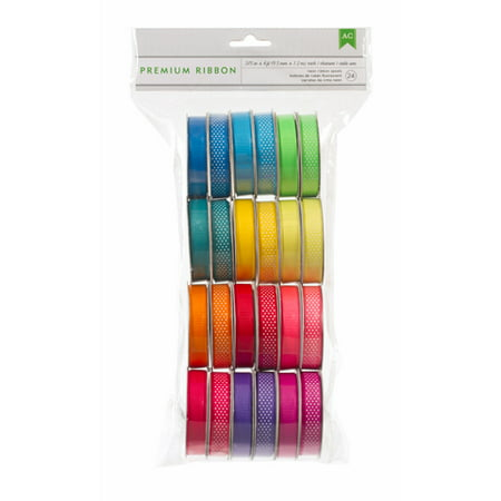 Fun Ribbon - Ribbon Spools Value Pack Bright Colors Solid Polka Dot 24Ct
