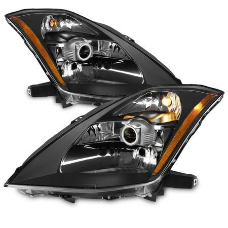 05 Nissan 350z Headlight (Fits 03-05 350Z Fairlady Z33 Black Bezel HID Type Projector Headlights Headlamps)